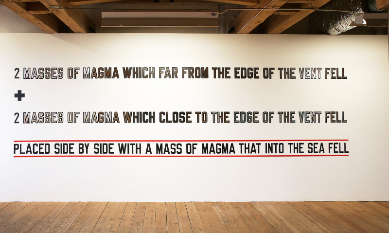 LAWRENCE WEINER, 2 MASSES OF MAGMA WHICH FAR FROM THE EDGE OF THE VENT FELL+2 MASSES OF MAGMA WHICH CLOSE TO THE EDGE OF THE VENT FELL PLACED SIDE BY SIDE WITH A MASS OF MAGMA WHICH INTO THE SEA FELL, 2008