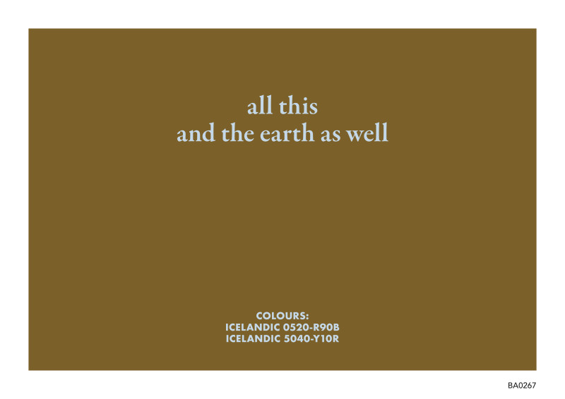 BIRGIR ANDRÉSSON, All this and the earth as well, 2005