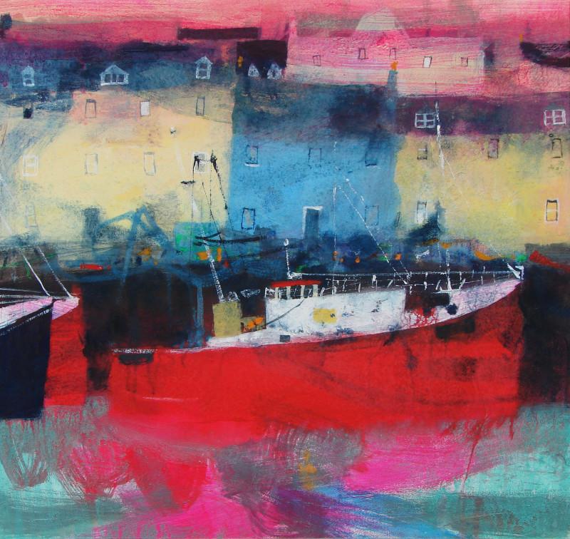 Caroline Bailey RSW, Red Boat Stornaway