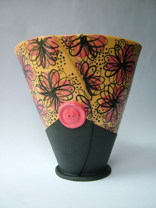 Hilary Coole, Daisy button vase - orange& black