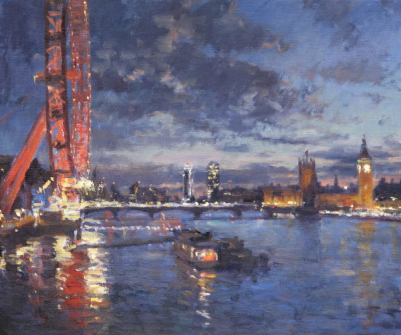 Edward Noott RBSA, The Thames at dusk