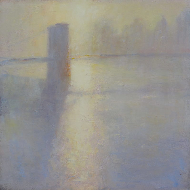 Edward Noott RBSA, Brooklyn Bridge under fog