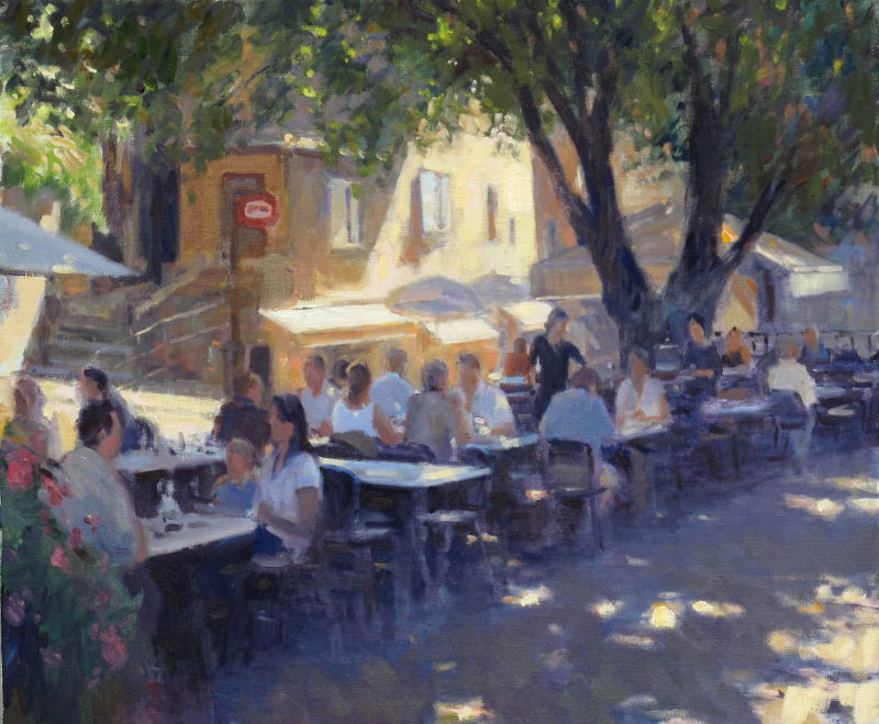 Edward Noott RBSA, A late lunch, St Paul de Vence