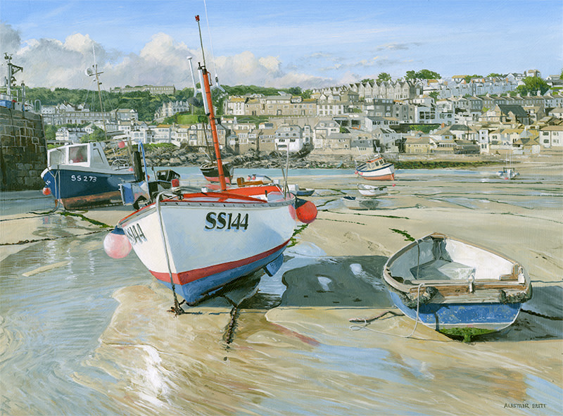Alistair Butt RSMA, Resting in the harbour St Ives