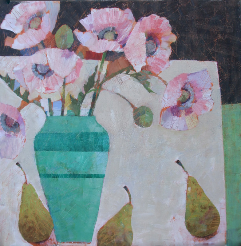Sally Anne Fitter, Pink poppies in a green vase
