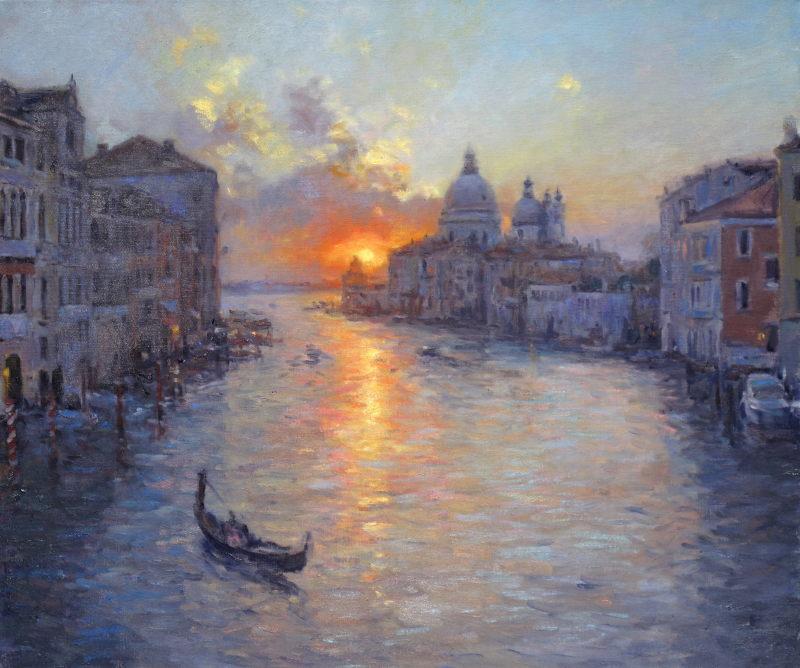 Edward Noott RBSA, Daybreak, Venice