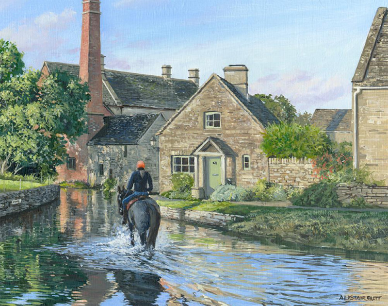 Alistair Butt RSMA, Crossing the ford - Lower Slaughter