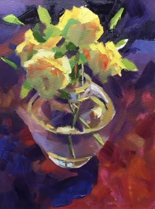Alex Brown, Yellow roses in glass vase