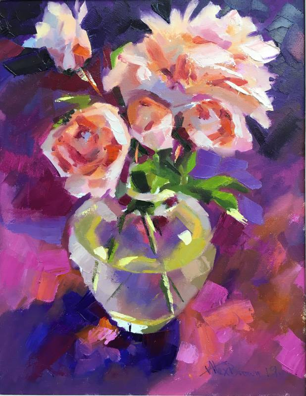 Alex Brown, Pink roses in glass vase