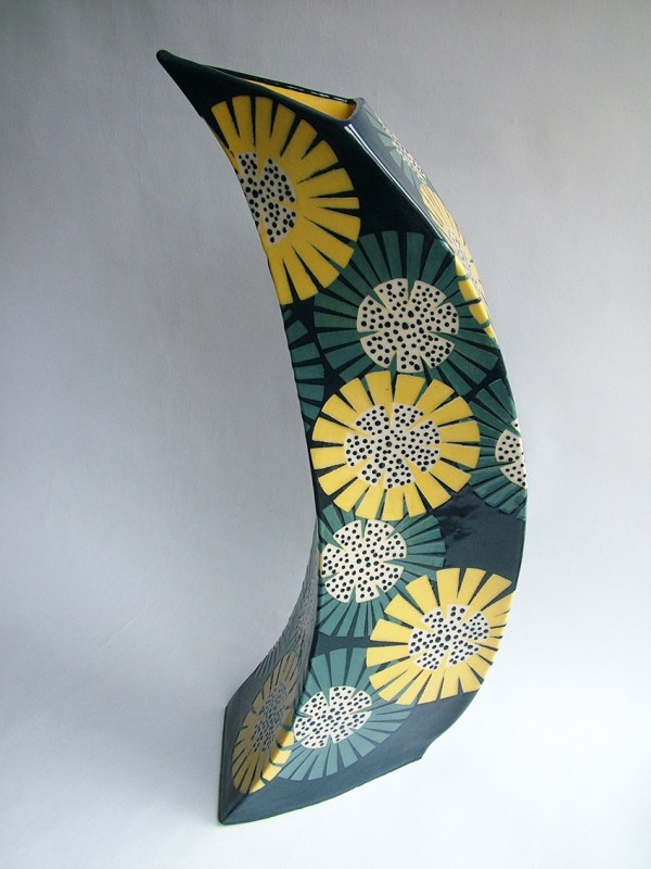 Hilary Coole, The Bees Knees - sunflower vessel navy