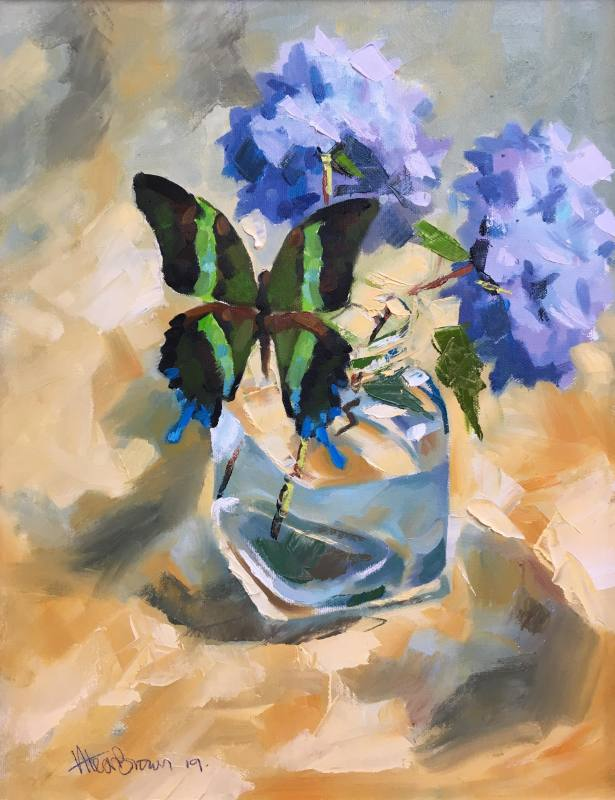 Alex Brown, Butterfly and blue Hydrangea