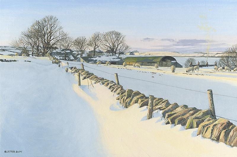 Alistair Butt RSMA, Evening feeding on the snow drifts