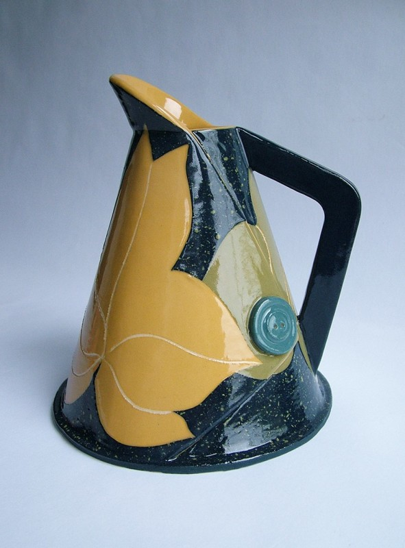 Hilary Coole, Leaf jug - tall navy