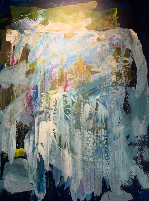 Lisa Sharpe Paintings, Midnight Blue Skies, Fresh Moss, Cool Waterfalls