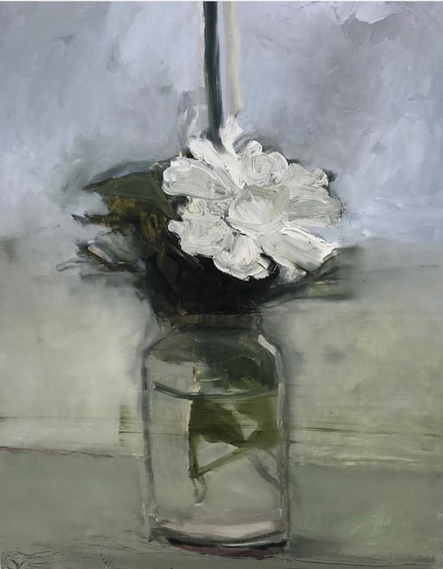 Hadas Tal, Blue Stripe, White Flower