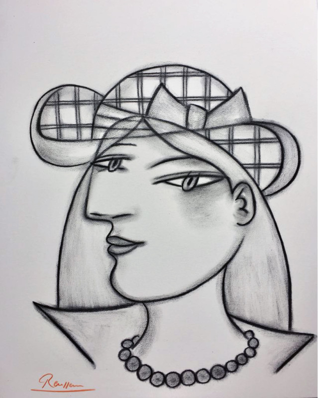 Erik Renssen, Woman in a checkered hat, 2018