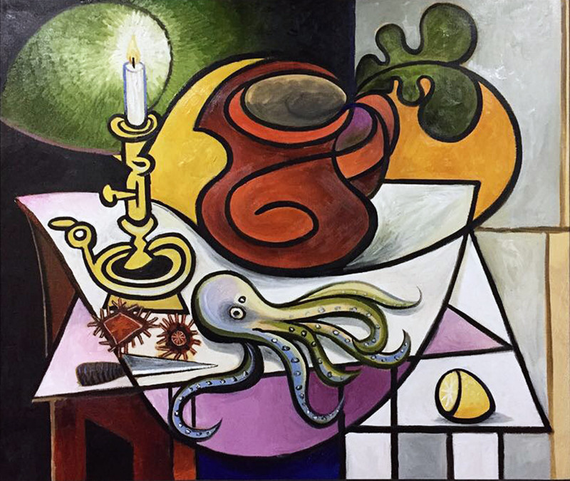 Erik Renssen, Still life with octopus, urchins, lemon and candle, 2017