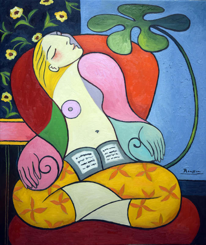 Erik Renssen, Seated woman in a yellow pantaloon, 2018