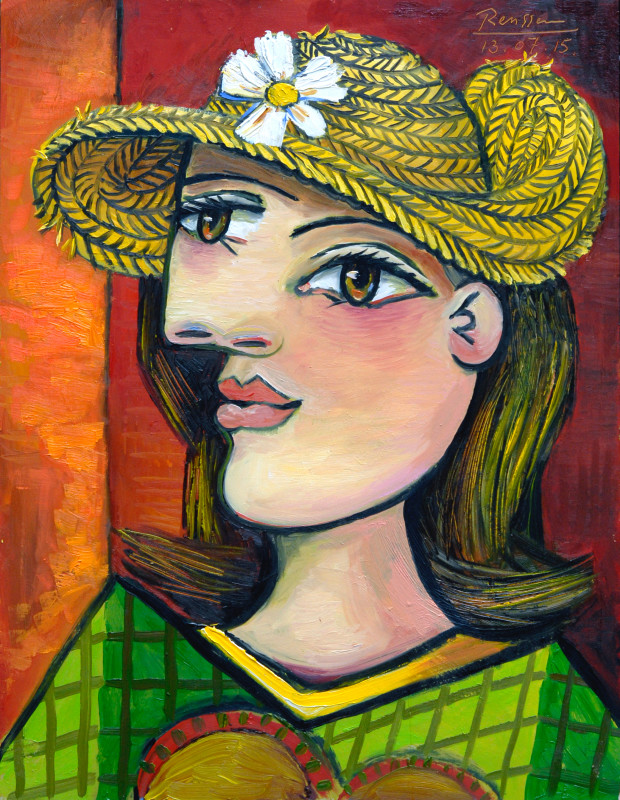 Erik Renssen, Woman with a straw hat, 2015