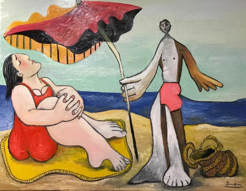 Erik Renssen, Man and woman on a beach II, 2018