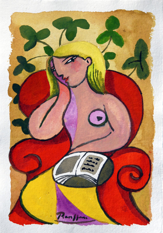 Erik Renssen, Nude reading a book, 2018