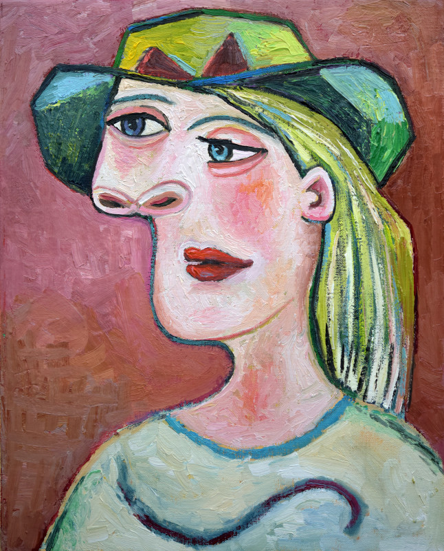 Erik Renssen, Woman in a green hat, 2019