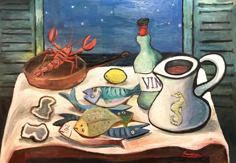 Erik Renssen, Seafood on a table, 2018