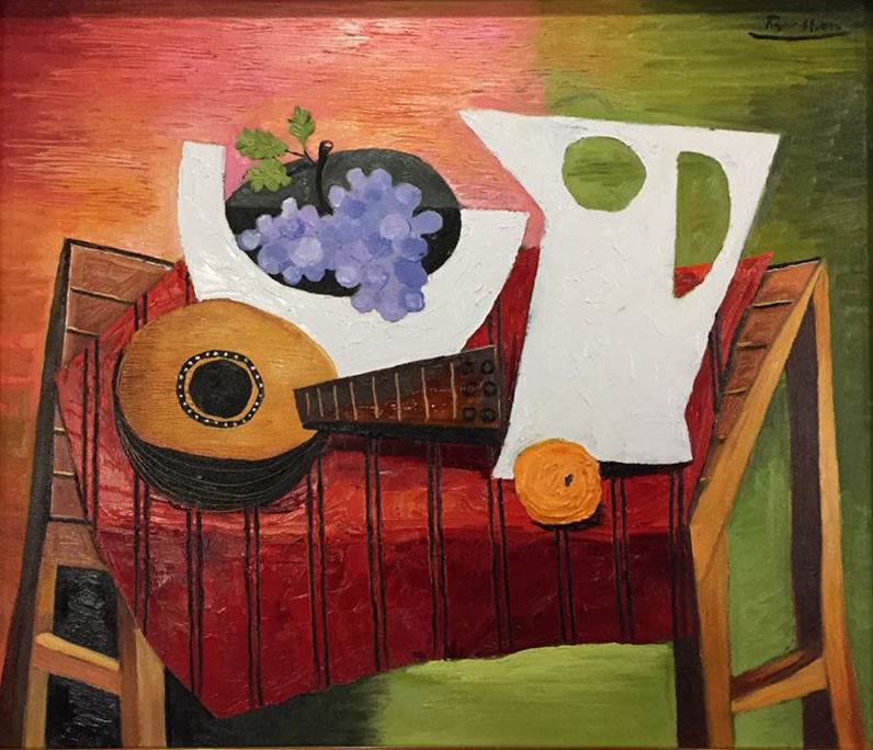 Erik Renssen, Still life with mandolin, grapes, pitcher and orange, 2018