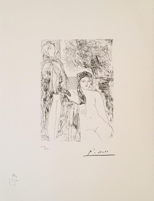 Pablo Picasso, Vollard Suite: Two nudes and portrait of Rembrandt, 1934
