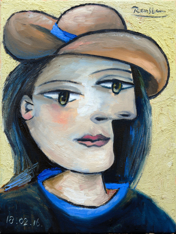 Erik Renssen, Woman in a brown hat, 2016