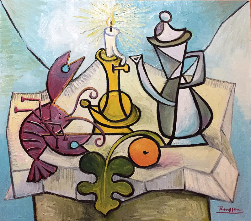Erik Renssen, Lobster, coffee pot, orange and candle on a table, 2017