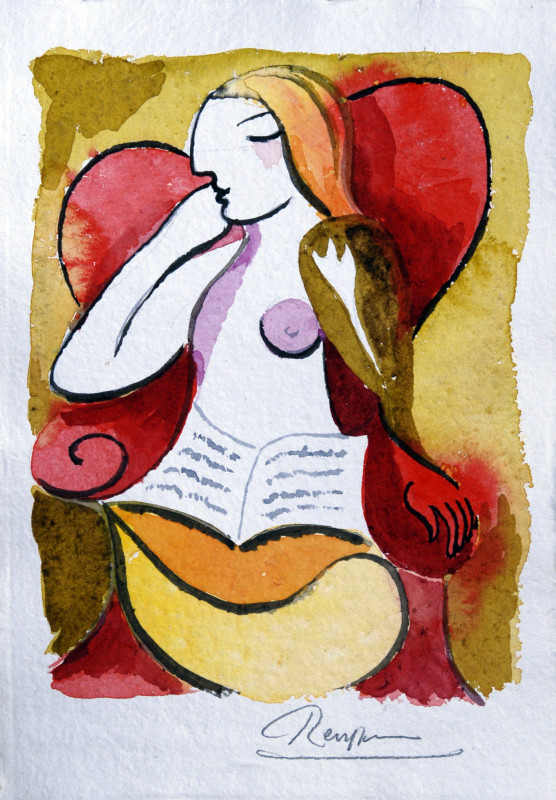 Erik Renssen, Woman in a red chair with a book, 2018