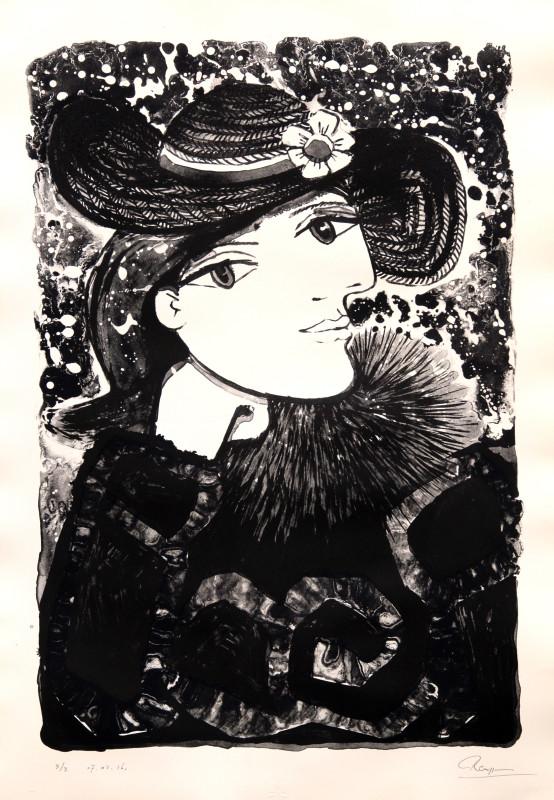Erik Renssen, Lady in a straw hat with flower, 2016