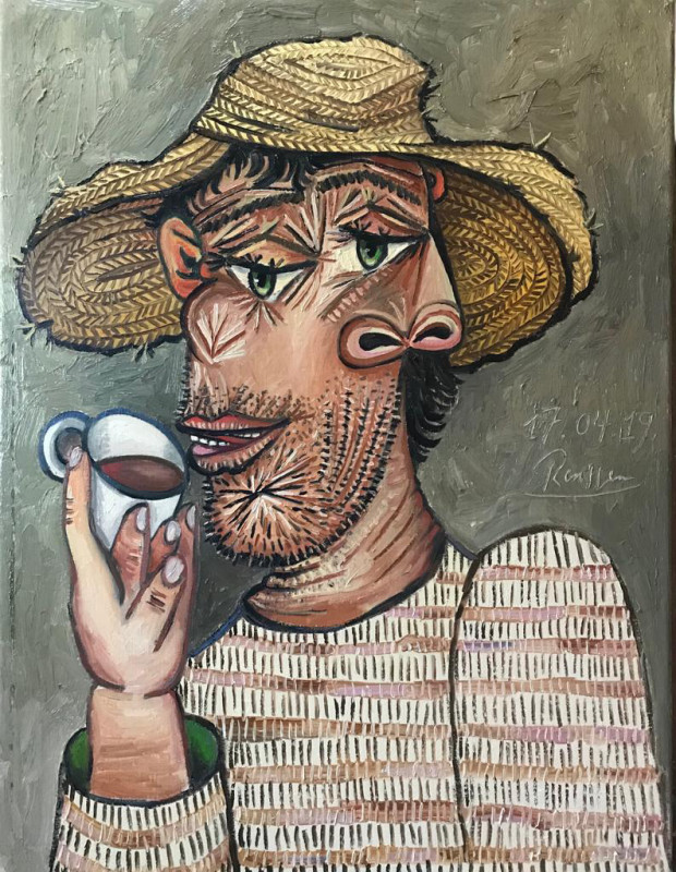 Erik Renssen, Man drinking coffee, 2019