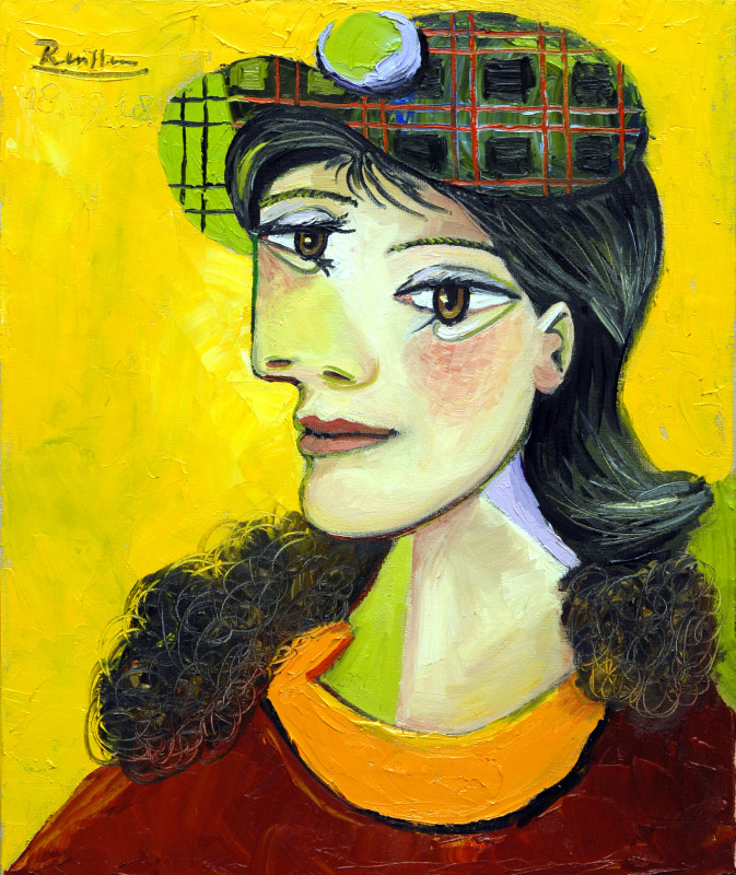 Erik Renssen, Woman in a checkered beret, 2018