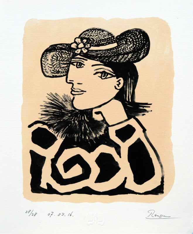 Erik Renssen, Lady in a straw hat with flower III, 2016