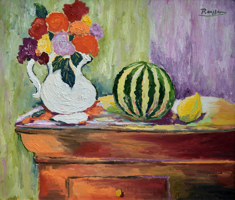 Erik Renssen, Roses and watermelon on a table, 2019