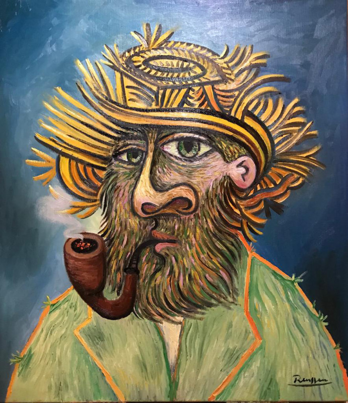 Erik Renssen, Man with pipe in a straw hat, 2019