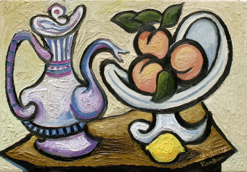 Erik Renssen, Coffeepot and peaches in a bowl , 2012