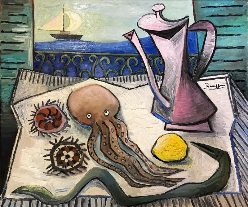 Erik Renssen, Seafood and coffeepot on a table, 2018
