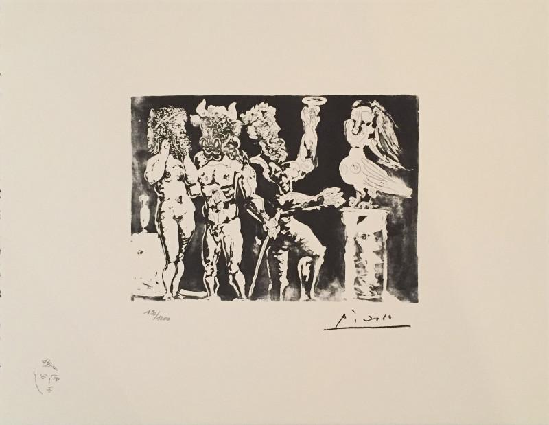 Pablo Picasso, Vollard Suite: Two men with minotaur and sculptured bird, 1935