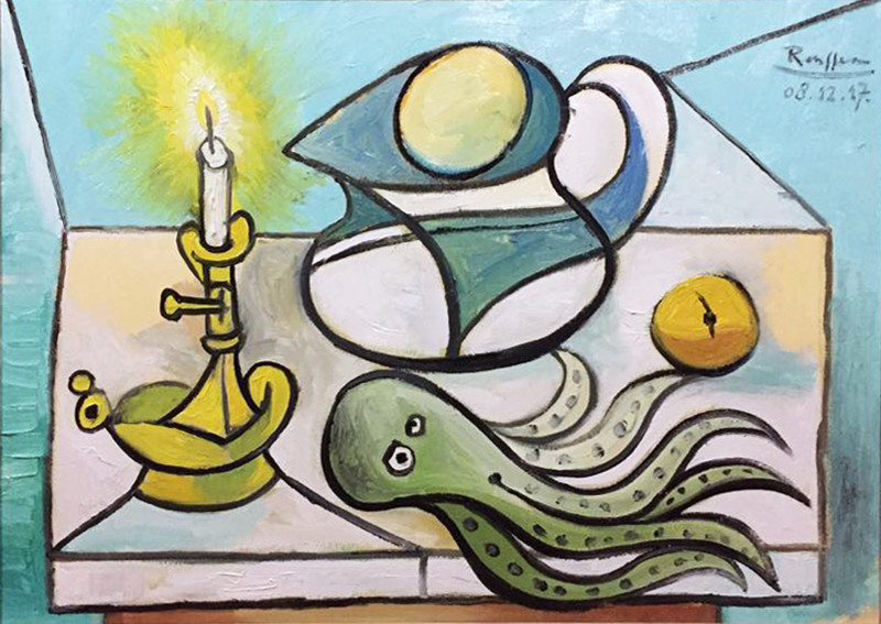 Erik Renssen, Candle, pitcher, lemon and octopus, 2017