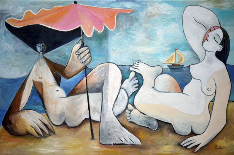 Erik Renssen, Man and woman on a beach, 2018
