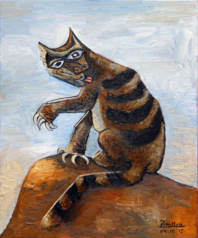 Erik Renssen, Tomcat licking his paws, 2015