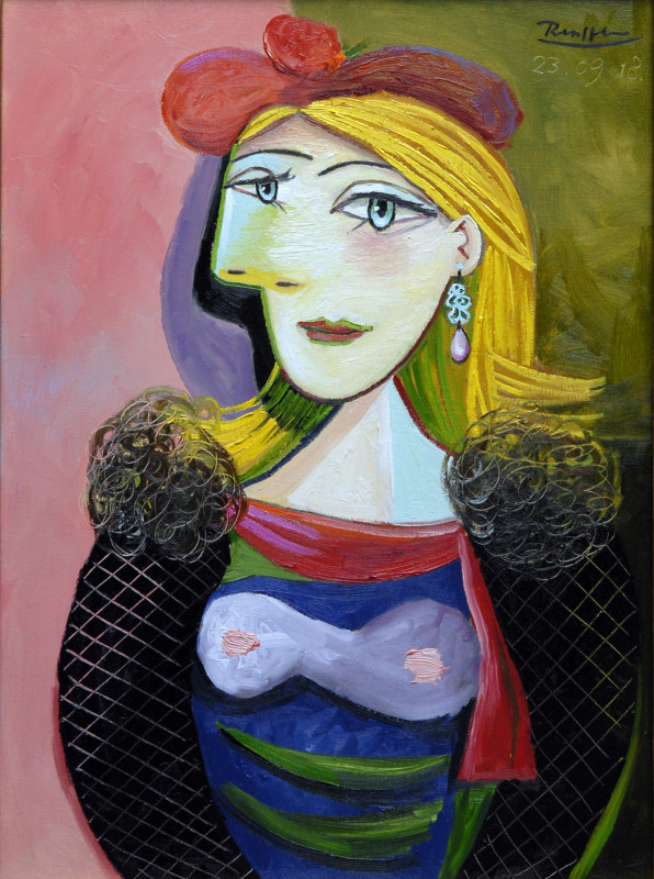 Erik Renssen, Lady in a red beret, 2018