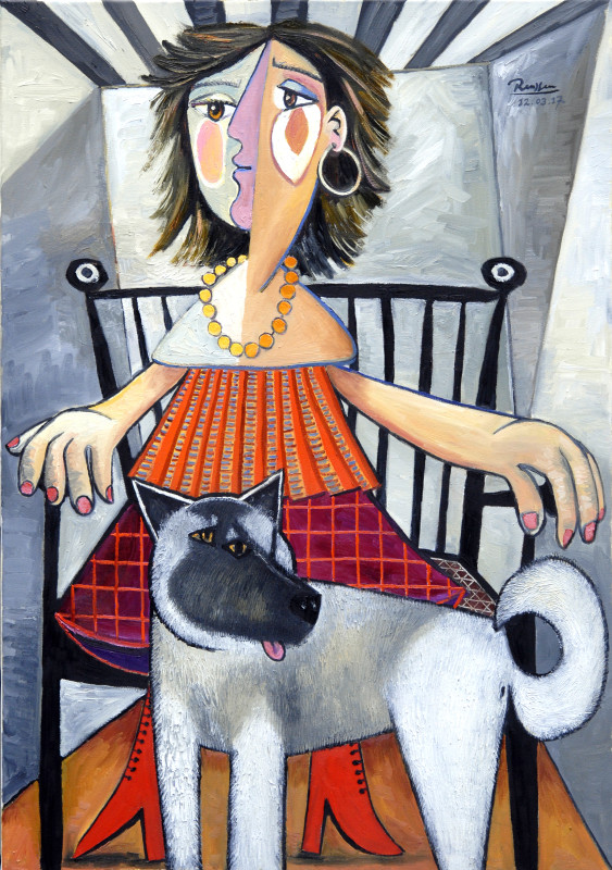 Erik Renssen, Lady with dog, 2017