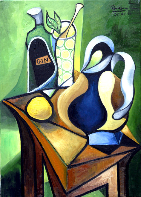 Erik Renssen, Bottle of gin, pitcher and a lemon, 2014