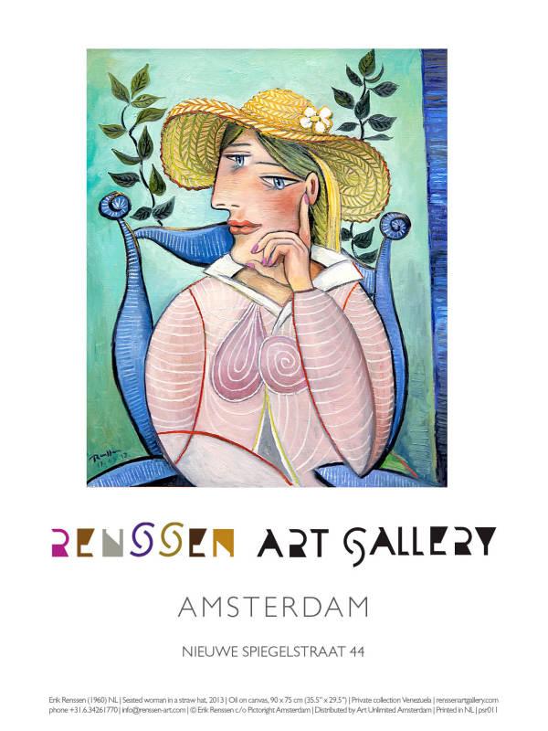 Erik Renssen, Seated woman in a straw hat, 2013, 2019
