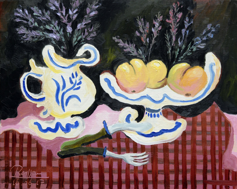 Erik Renssen, Pitcher with lavender and fruit bowl, 2017