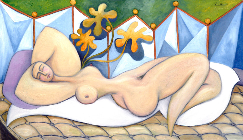 Erik Renssen, Reclining nude with plant, 2016